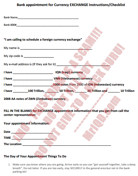 Bank appointment for Currency EXCHANGE Instructions/Checklist - Form Attached (2/5)