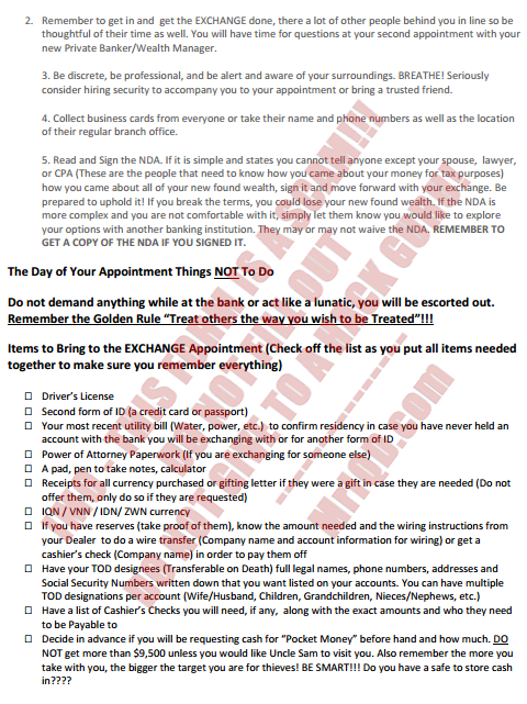 Bank appointment for Currency EXCHANGE Instructions/Checklist - Form Attached (3/5)