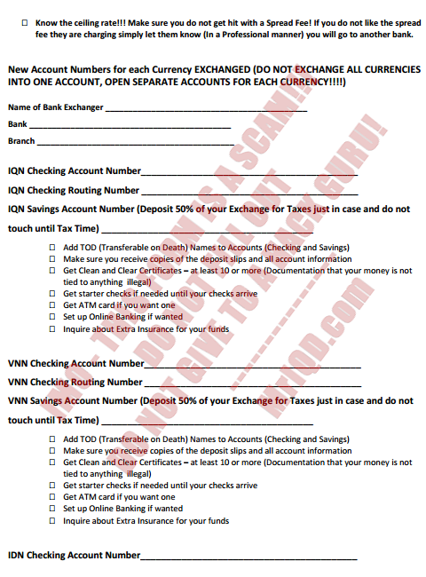 Bank appointment for Currency EXCHANGE Instructions/Checklist - Form Attached (4/5)