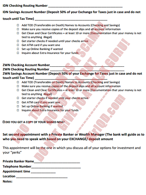 Bank appointment for Currency EXCHANGE Instructions/Checklist - Form Attached (5/5)
