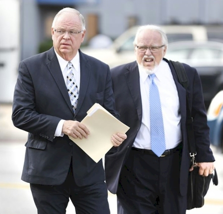 Brad Huebner with his Attorney Rck Kerger  | Photo: Toledo Blade